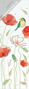 Mohnblumen mit Meise Lesezeichen