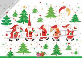 Weihnachtsmänner mit Leiter
