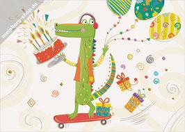 Krokodil auf Skateboard