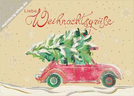 Auto mit Weihnachtsbaum