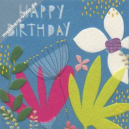Happy Birthday blau Minikarte