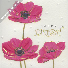 Mohnblumen Happy Birthday Minikarte