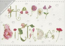 Blumenschriftzug Happy Birthday
