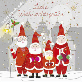 Singende Weihnachtsmänner Minikarte