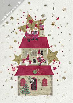 Weihnachtsmänner auf Haus groß