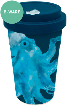 """B-Ware holi.® Woodcup """"Octo Olaf blue"""" Bambusbecher"""