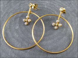 Apartes Goldkreolen Paar mit echten Perlen und Zirkoniasteinen - 925 Silber vergoldet