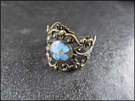 Vergiss Mein Nicht - Ring, mit echter kleiner blauer Blüte