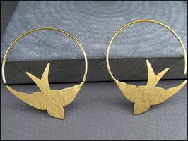 Ausgefallene Schwalben Creolen Ohrhänger Kreolen - 925 Silber vergoldet
