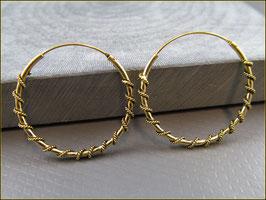 Indische Creolen mit gewundenem Seil 925er Silber Vergoldet