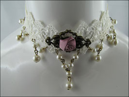 Spitzen Halsband cremeweiß mit altrosa Rose Florence
