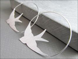 Ausgefallene Schwalben Creolen Ohrhänger Kreolen - 925 Silber