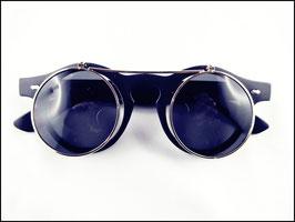Steampunk Sonnenbrille mit klappbaren Gläsern schwarz