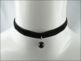 Zartes Samt Halsband schwarz mit schwarzer Perle Pauline