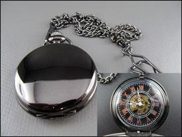 Schwarze einfache mechanische Taschenuhr Pure Skeleton