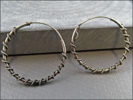 Indische Creolen mit gewundenem Seil 925er Silber