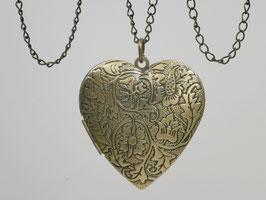 Großes bronzefarbenes Herzmedaillon für zwei Bilder