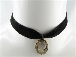 Samt Halsband schwarz mit Camée Olivia