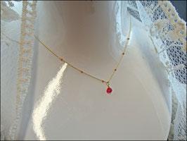 Sehr zarte Rubinkette vergoldet 40-46 cm lang