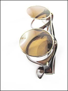 Steampunk Sonnenbrille mit klappbaren Gläsern braun getigert