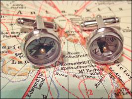 Kompass Manschetttenknöpfe silberfarben