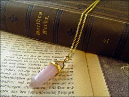 Rosenquarzkette vergoldet