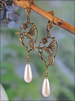 Vintageohrringe Kolibri mit Perle