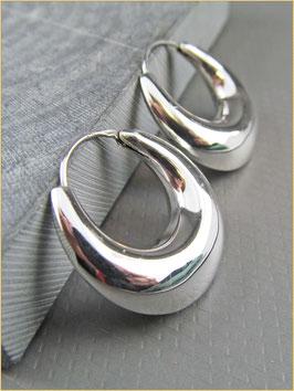 925er Silber Creolen bauchig 2,5 cm Durchmesser