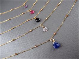 Sehr zarte echte Edelsteinkette vergoldet 40-46 cm lang - mit 9 Edelsteinvarianten