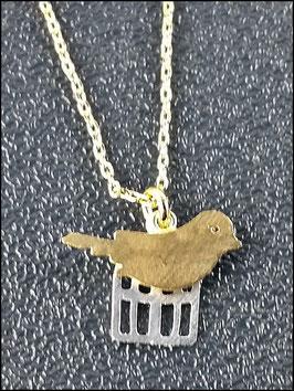 Vogel und Käfig - Süßes Gold und Silberkettchen