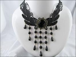 Breites Spitzenhalsband Adèle, schwarz mit großem Schmuckstein
