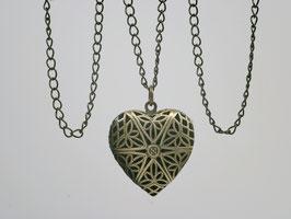 Medaillon Bronze Herz durchbrochener Deckel
