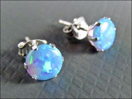 925er Silber Stecker mit leuchtendem 6 mm rundem Opal (aufwendig synthetisch gewachsen)