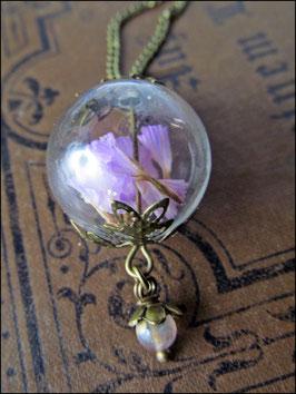Rosa Wildblumen Kette mit Perle