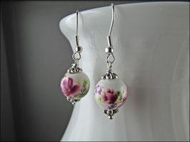 Blumen Ohrringe aus Porzellan