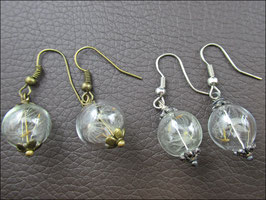 Zarte Pusteblumen Ohrringe bronze oder silberfarben mit echten Samen