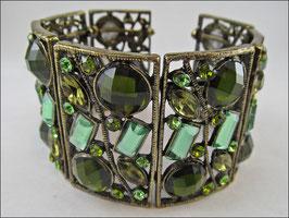 Unglaublich schöner Armreif aus Metall mit verschieden grünen Strasssteinen