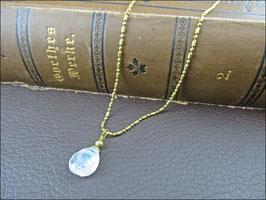 Echter Mondstein  - Edelsteinkette, messingfarben kleiner oder größer mit verschieden langer Kette