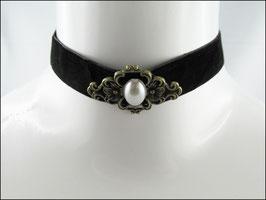 Samt Halsband schwarz mit weißer Perle Nicole