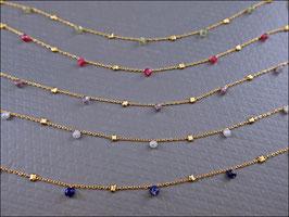 Sehr zarte echte Edelsteinkette vergoldet mit 5 Edelsteinen 41-46 cm lang - 9 verschiedene Edelsteinvarianten
