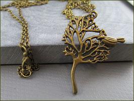 Romantische Baum Vogel Halskette, 80 cm lang, antik bronzefarben