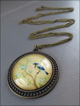 Der blaue Eisvogel vor gelbem Hintergrund Vintage Zeichnung Halskette