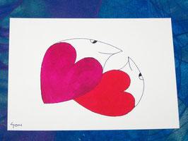 Postkarte Wiegende Herzen