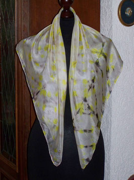Quadratisches, elegantes Shiboriseidentuch Braun-Gelb