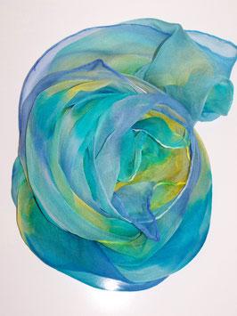 Gelb & Blau - Chiffonschal, handgemalt