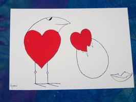 Postkarte Schlüpfendes Herz
