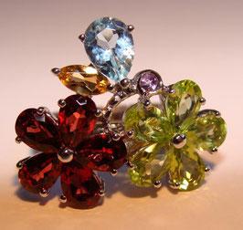Splendid Nature Edelstein Ring - drei Edelstein Farbkombinationen zur Wahl