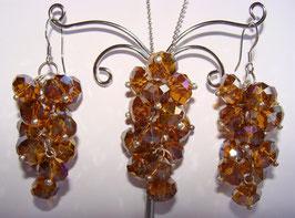 """Rainbow Crystals Set Ohrringe und Anhänger, """"Amber"""""""