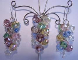 Rainbow Crystals Set Ohrringe und Anhänger