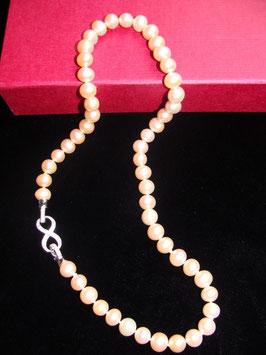 Infinity - die Schönheit der Unendlichkeit - wunderschöne Perlenkette naturfarben rosé